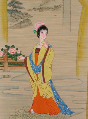 bamboo slat painting:Ancient Chinese lady wth traditional custume