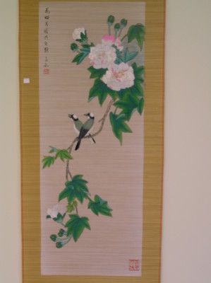 bamboo slat painting-Birds